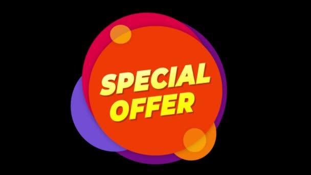 Különleges ajánlat szöveg matrica színes eladás popup animáció.