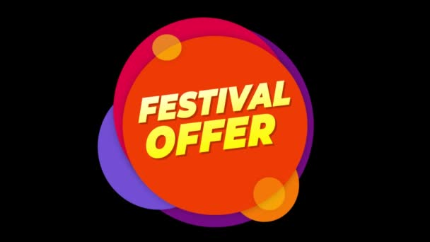 Fesztivál ajánlat szöveg matrica színes eladás popup animáció.
