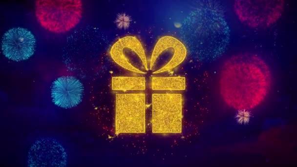 Vörös szalag ajándékdoboz present ikon Symbol színes tűzijáték részecskék.