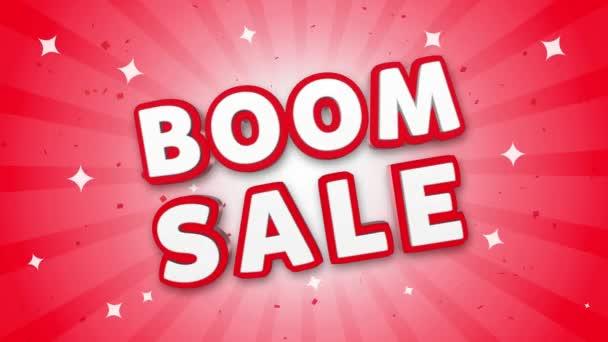 Boom eladó 3D szöveg a Falling konfetti háttér.
