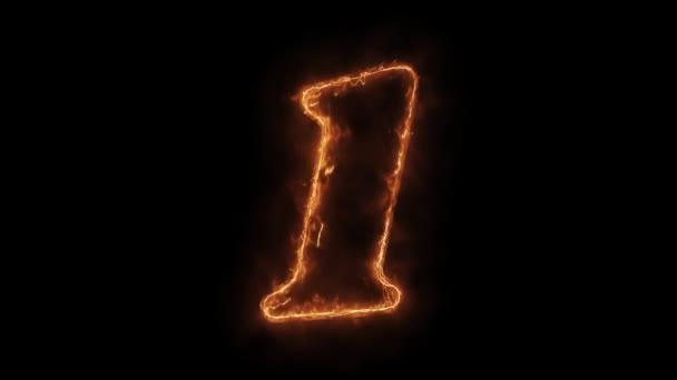 Szám 1 Word Hot animált Burning reális Fire Flame hurok.