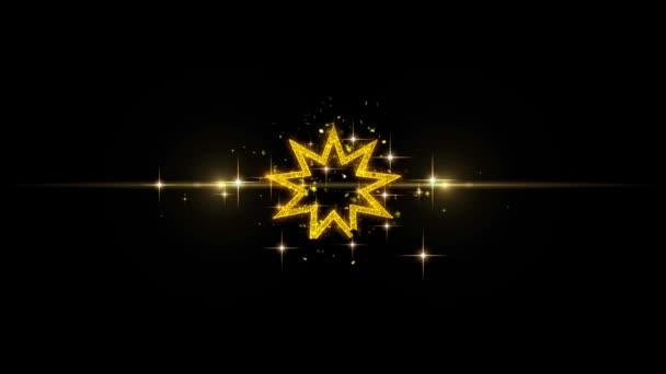 bahai neun spitzen Stern bahaism Symbol auf glitzernden goldenen Partikeln Feuerwerk.