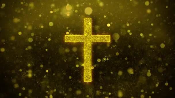 Templom Cross kereszténység vallás Icon Golden Glitter Shine részecskék.