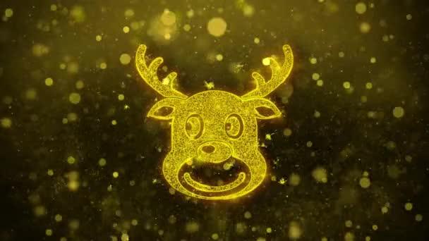 Christmas rénszarvas Xmas Deer ikon Golden Glitter Shine részecskék.