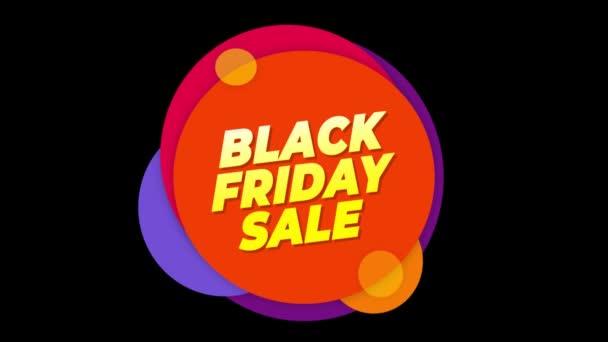 Fekete péntek eladás szöveg lapos matrica színes popup animáció.