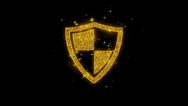 Védelem, őr, védelme, a biztonság, pajzs Icon Sparks részecskék fekete háttér.