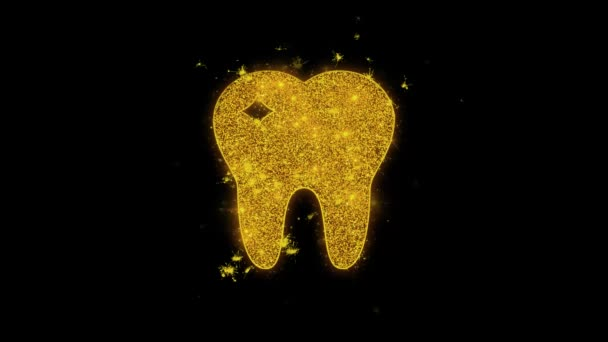 Tooth Dental, dentist Icon Sparks Particles on Black Background.