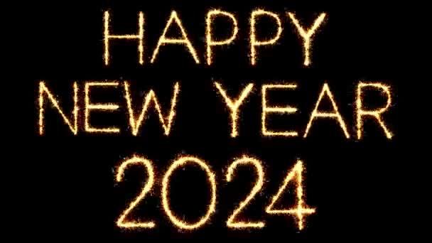Boldog új évet 2024 szöveg csillagszóró Glitter Sparks tűzijáték loop animáció