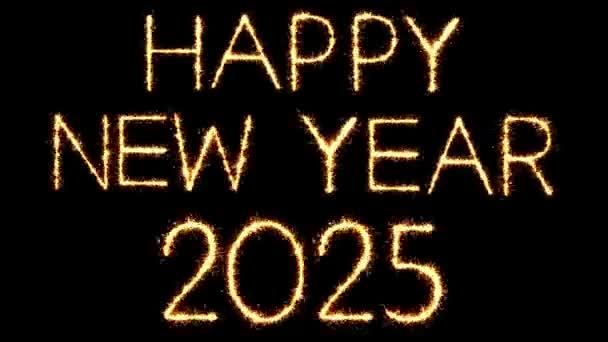 Boldog új évet 2025 szöveg csillagszóró Glitter Sparks tűzijáték loop animáció