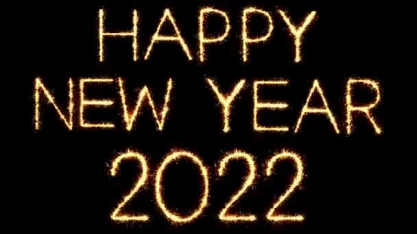 Frohes neues Jahr 2022 Text Sparkler Glitter Funken Feuerwerk Loop Animation