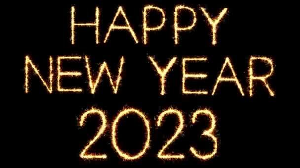 Frohe neu Jahr 2023 Text Sparkler Glitter Funken Feuerwerk Loop Animation