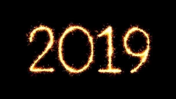 Boldog új évet 2019 szöveg csillagszóró Glitter Sparks tűzijáték loop animáció