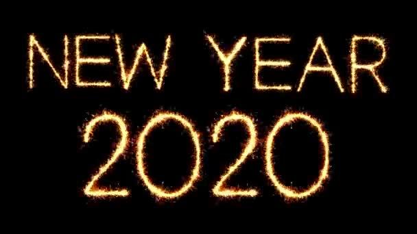 Neujahr 2020 Text Sparkler Glitter Funken Feuerwerk Loop Animation