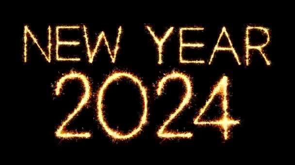 Új év 2024 szöveg csillagszóró Glitter Sparks tűzijáték loop animáció