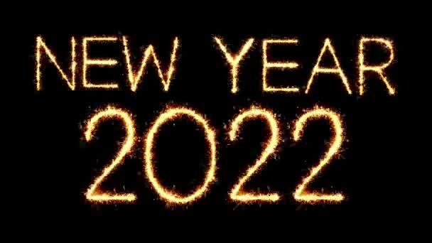 Neujahr 2022 Text Sparkler Glitter Funken Feuerwerk Loop Animation