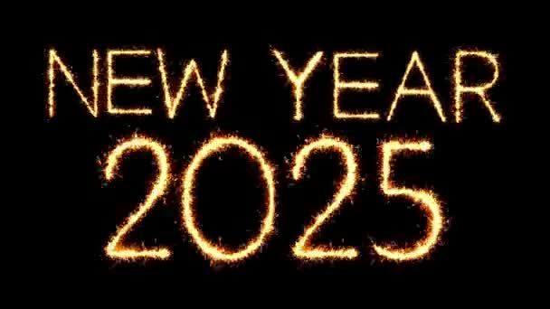 New Year 2025 Text Sparkler Glitter Sparks Firework Loop Animation