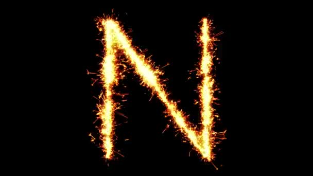 Ábécé N szöveg Sparkler Glitter Sparks tűzijáték loop animáció