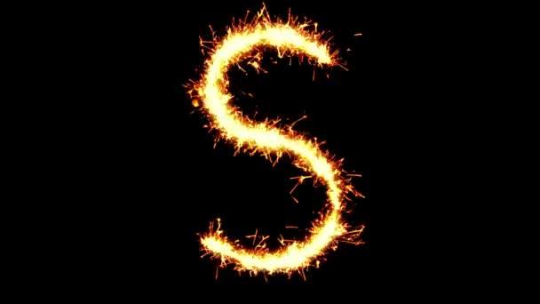 Alphabet S Text Sparkler Glitter Sparks Firework Loop Animation