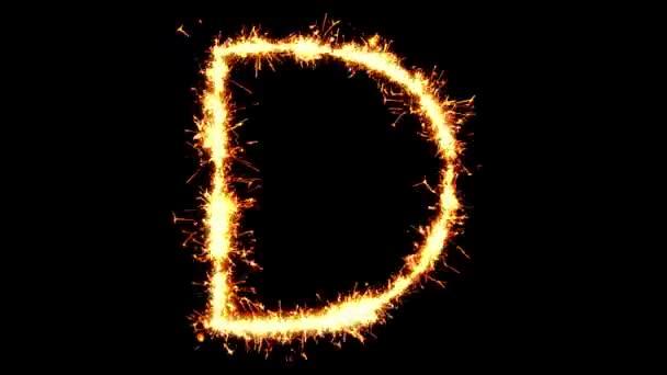 Alphabet D Text Sparkler Glitter Sparks Firework Loop Animation