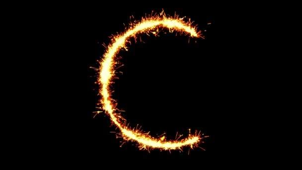 ABC C szöveg Sparkler Glitter Sparks tűzijáték loop animáció