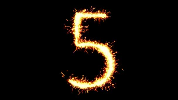 Number 5 Text Sparkler Glitter Sparks Firework Loop Animation