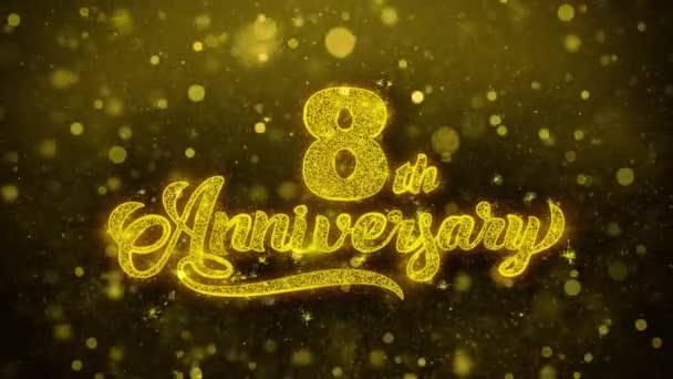8. glückliches Jubiläum goldener Text blinkende Teilchen mit goldenem Feuerwerk
