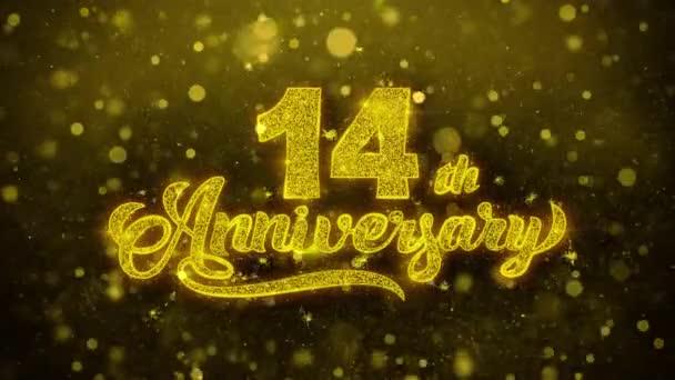 14. glückliches Jubiläum goldener Text blinkt Teilchen mit goldenem Feuerwerk