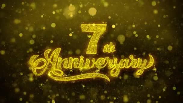 7. glückliches Jubiläum goldener Text blinkende Teilchen mit goldenem Feuerwerk