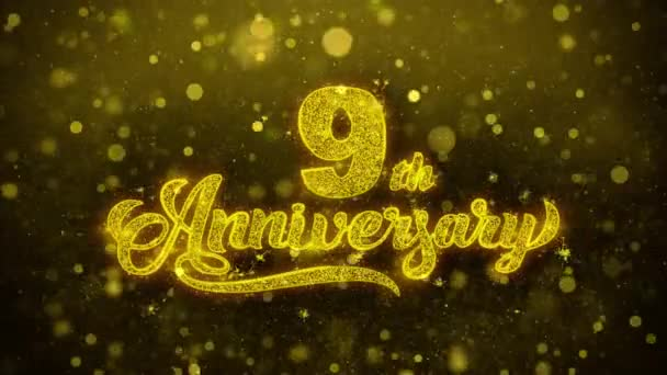 9th Happy Anniversary Golden Text Blinking Particles with Golden Fireworks Display