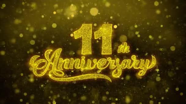 11. šťastné výročí zlaté texty blikající částice se zlatou displejem Fireworks