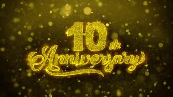 10. glückliches Jubiläum goldener Text blinkende Teilchen mit goldenem Feuerwerk