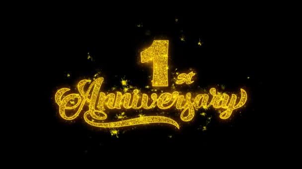 1. Happy Anniversary Typografie geschrieben mit goldenen Partikeln Funken Feuerwerk