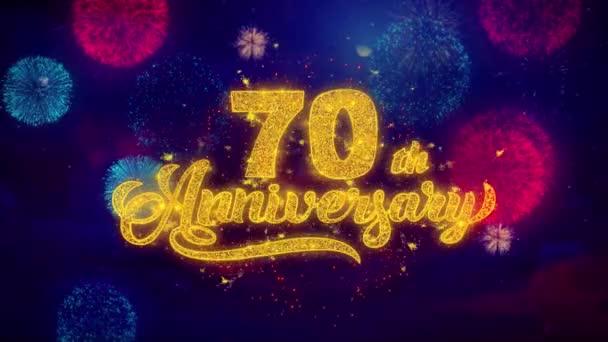 Glückwunschtext zum 70. Geburtstag funkelt auf farbigem Feuerwerk