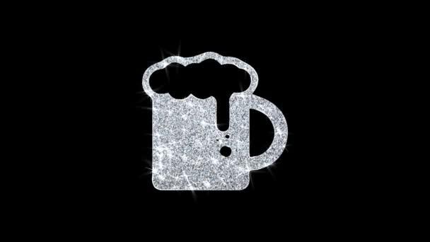 Sör, Söröskorsó, pirítós, üvegsör ikon fényes Glitter loop villogó részecskék .