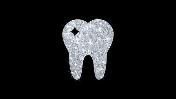 Zahn zahn-, Zahnarzt-Symbol glänzende Glitzerschleife blinkende Partikel .