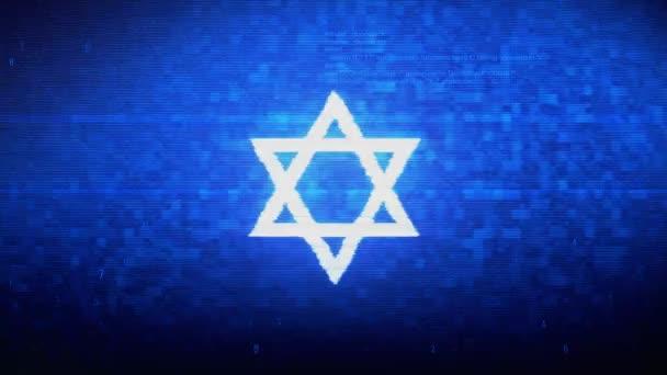 David The Jewish star Religion Symbol Digital Pixel Noise Error Animation.