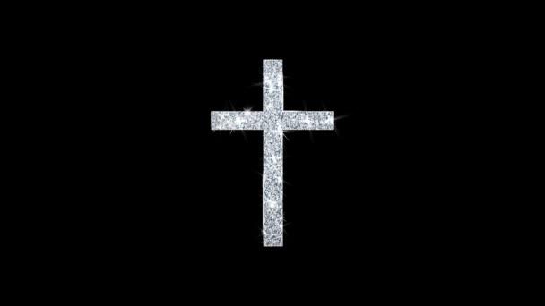 Templom Cross kereszténység vallás Icon csillogó Glitter loop villogó részecskék .