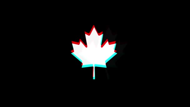 Canadian Maple Leaf icon Vintage Twitched Bad Signal Animation.