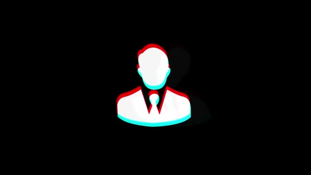 Businessman Job Manager Head icon Vintage Twitched Bad Signal Animation.