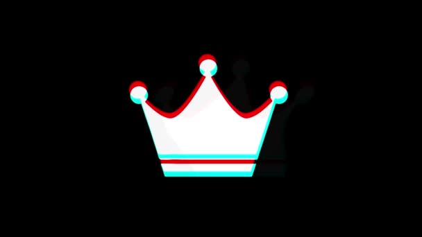 Queen Royalty Crown ikon Vintage Twitched rossz jel animáció.
