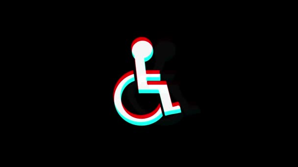Deaktivierte Handicap-Symbol Vintage Twitched Bad Signal Animation.