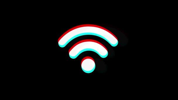 Wifi-Verbindung Signal Symbol Vintage zuckte schlechtes Signal Animation.
