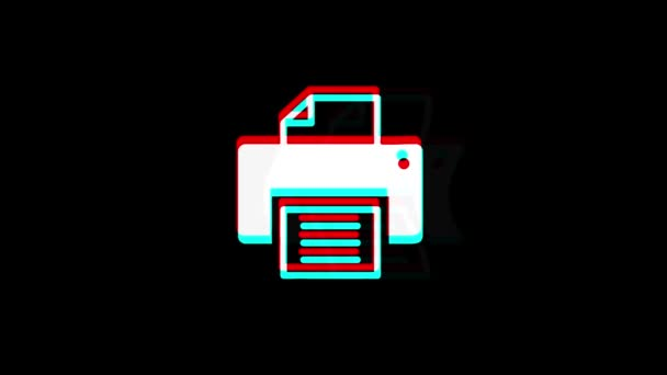 Printer Print Computer icon Vintage Twitched Bad Signal Animation.