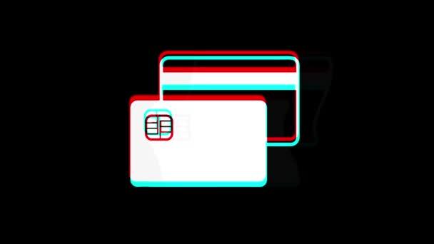 Kreditkarten-Ikone Vintage zuckte mit schlechter Signalanimation.