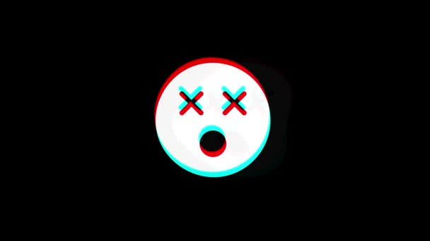 Unhappy Face Symbol icon Vintage Twitched Bad Signal Animation.