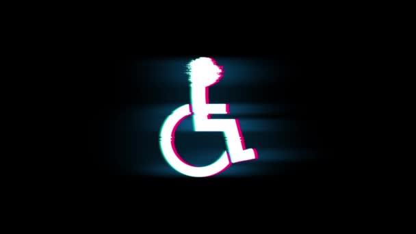 Behinderte Handicap Symbol auf Glitch Retro Vintage Animation.