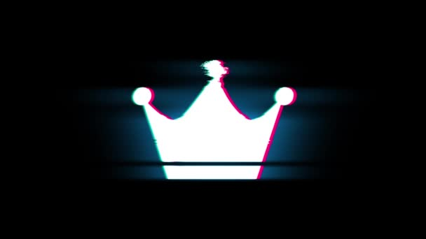 Queen Royalty Crown Symbol on Glitch Retro Vintage Animation.