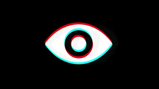 Human Face eye view icon Vintage Twitched Bad Signal Animation.