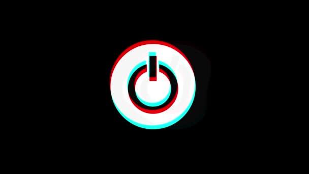 Tlačítko napájení počítače ikona Start, ztrhaný chybný signál animace.