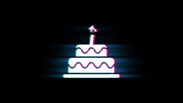 Geburtstagstorte Symbol auf Panne Retro-Vintage-Animation.
